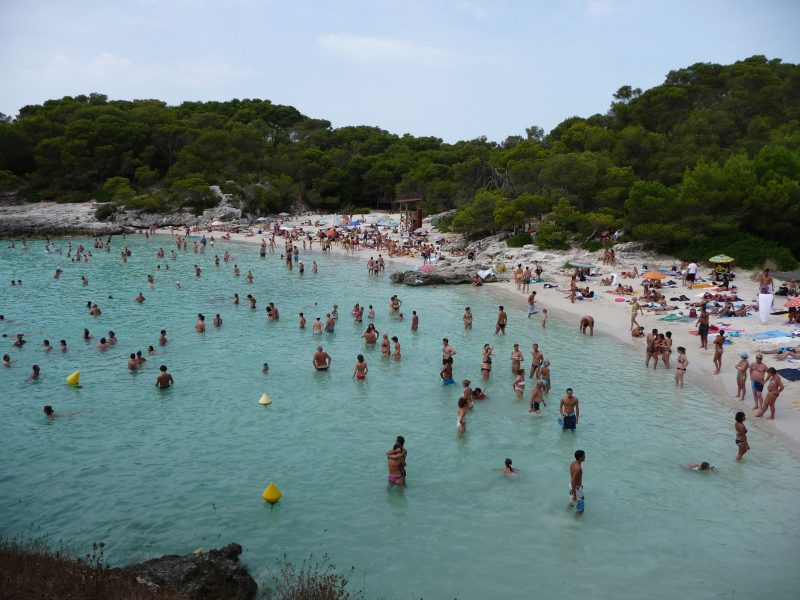 Cala Turqueta after welcoming tourists from a cruise