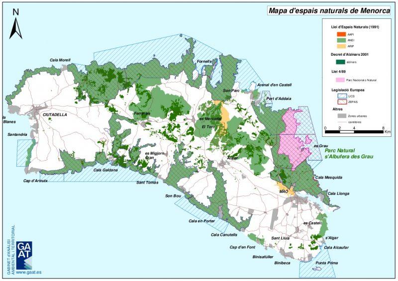 mapa espacios naturales de menorca