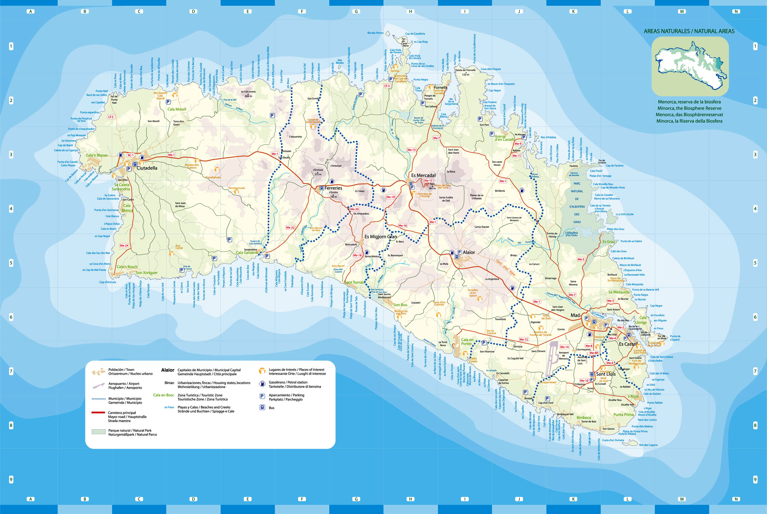Mapa General Detallado De Menorca Playas Carreteras Gasolineras