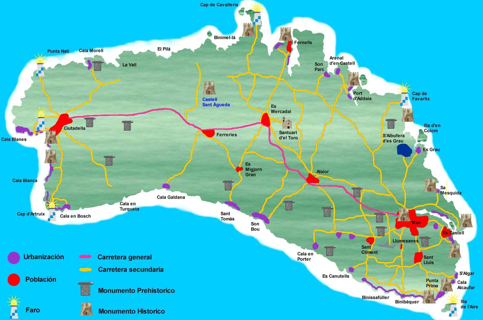 Mapa De Menorca Calas.Mapas De Menorca Menorca Diferente