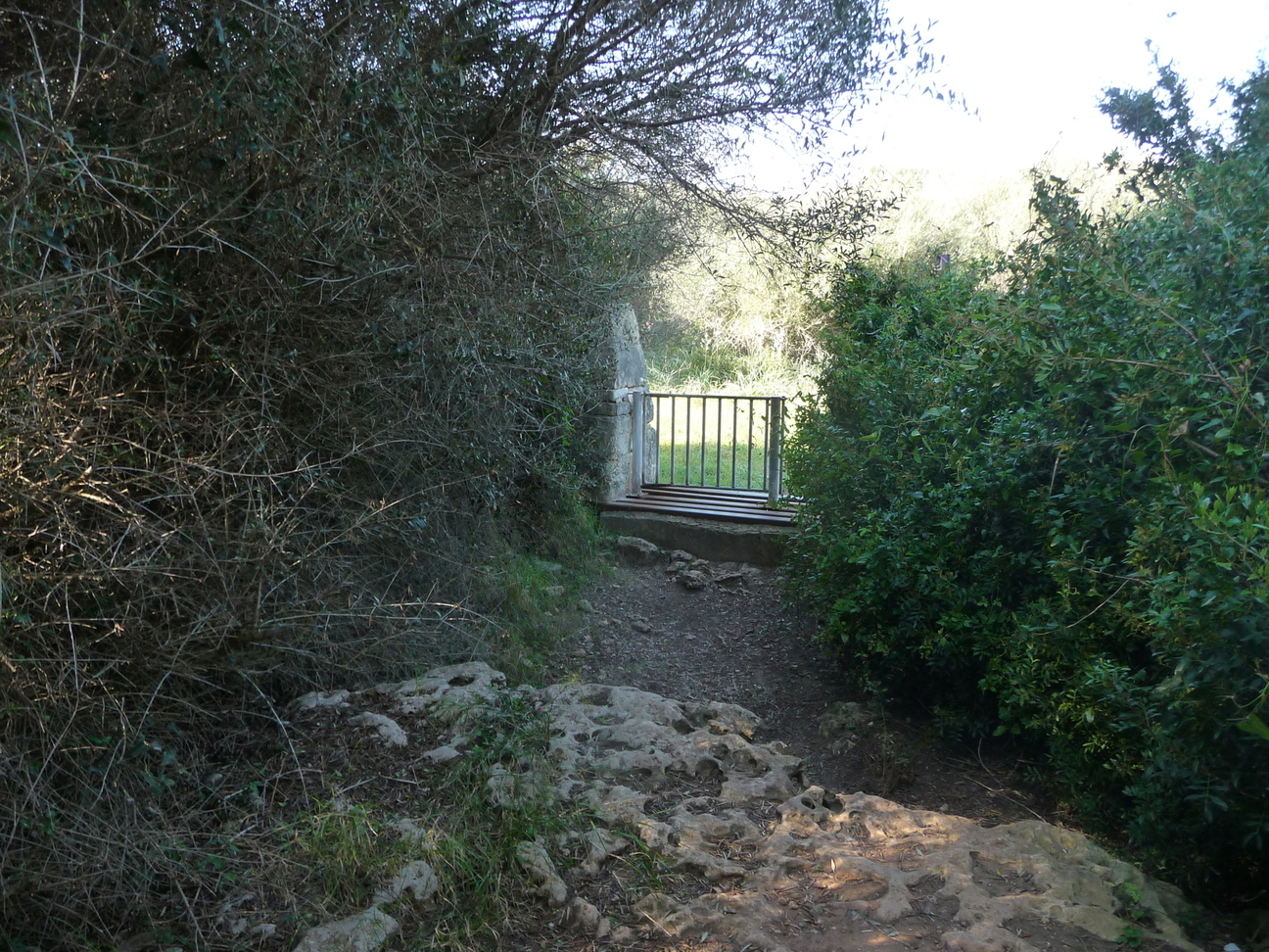 Intermediate fence in the trail to the Torretrencada village
