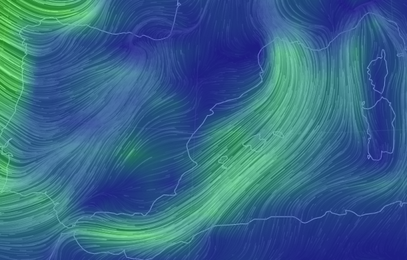Map of the Wind in Menorca in Real Time (nullschool)