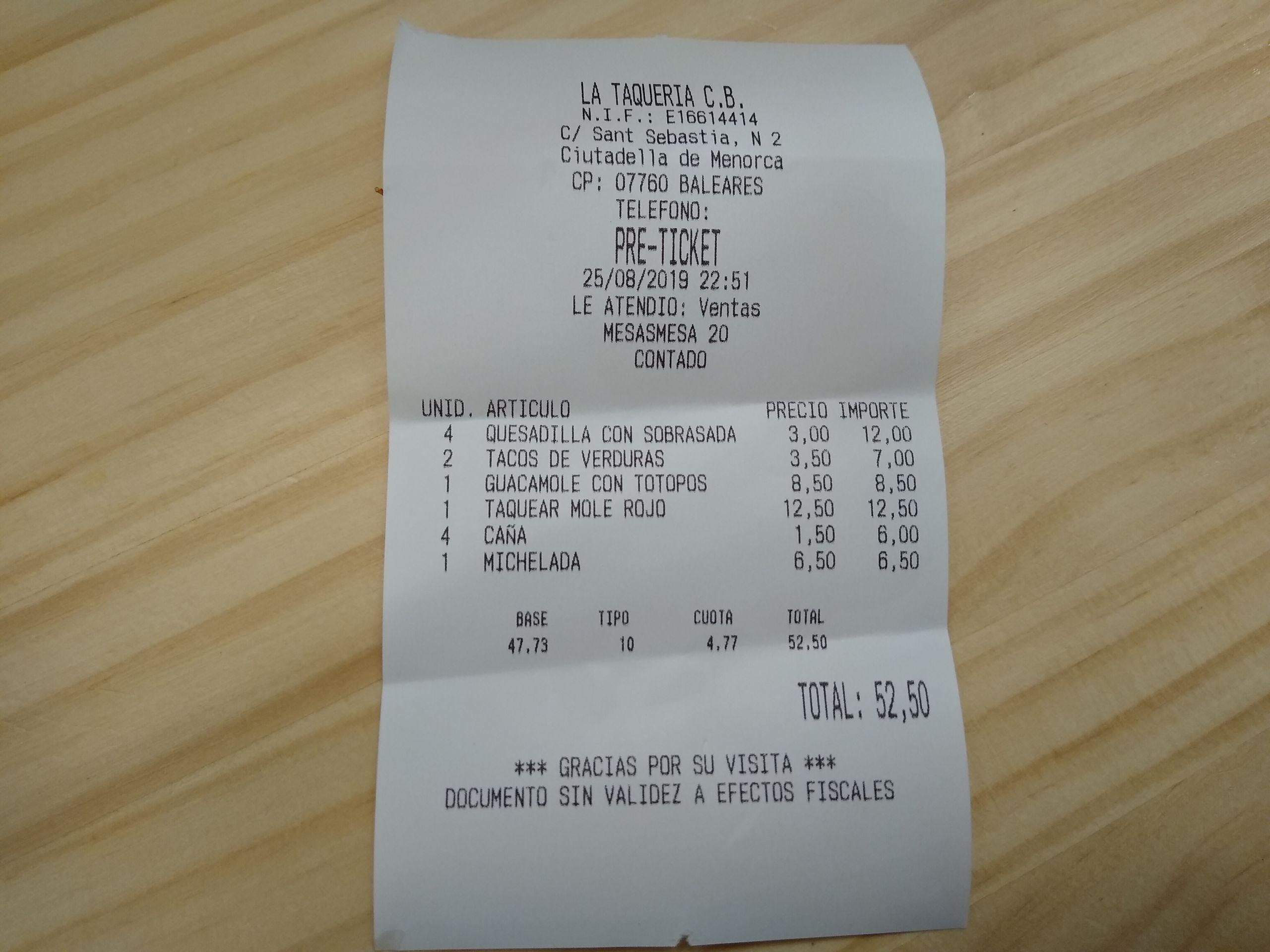 Ticket Restaurante Mexicano Nopales - CiutadellaTicket Santa Clara - Ciutadella