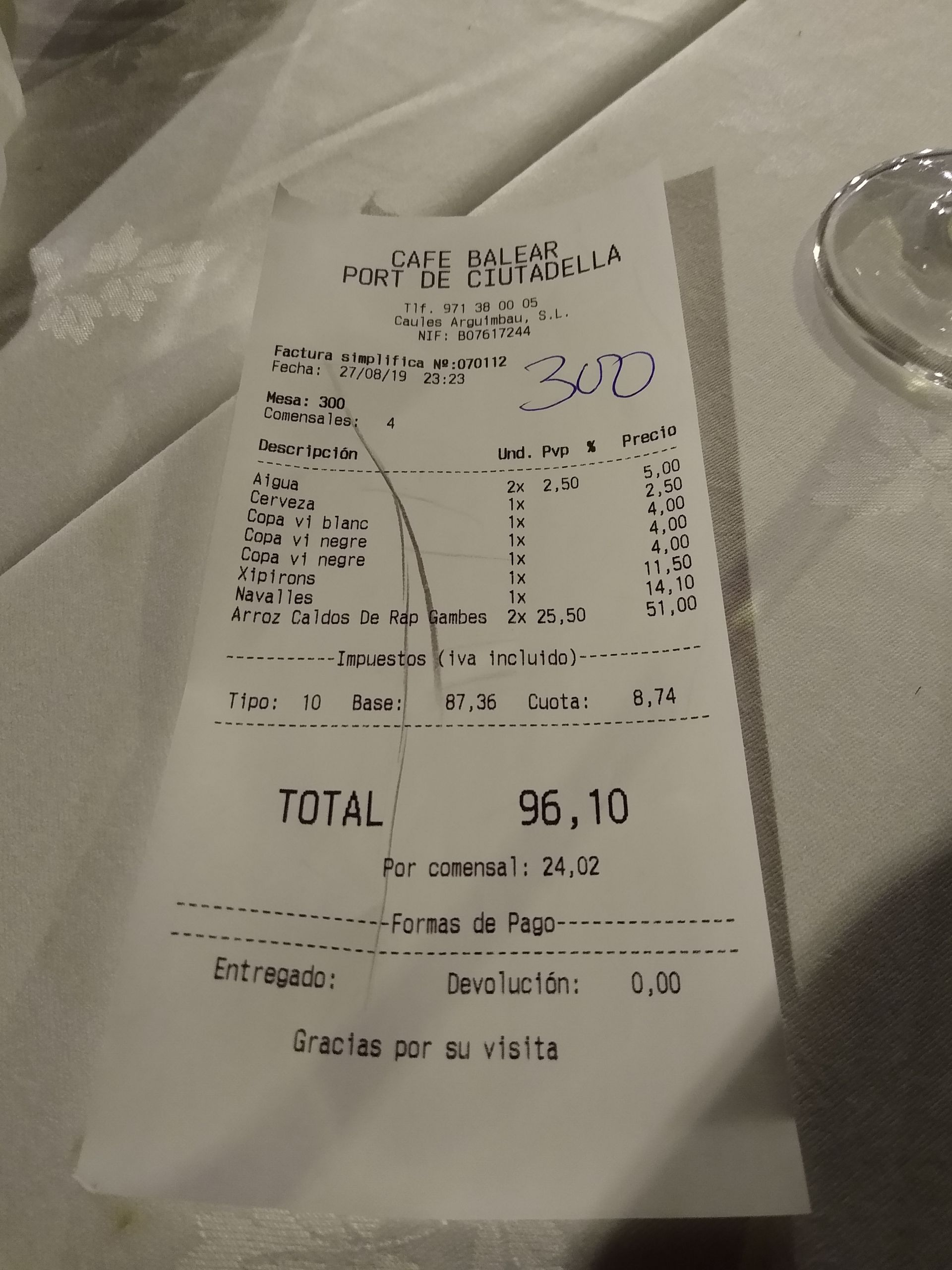 Ticket Cafe Balear - Ciutadella