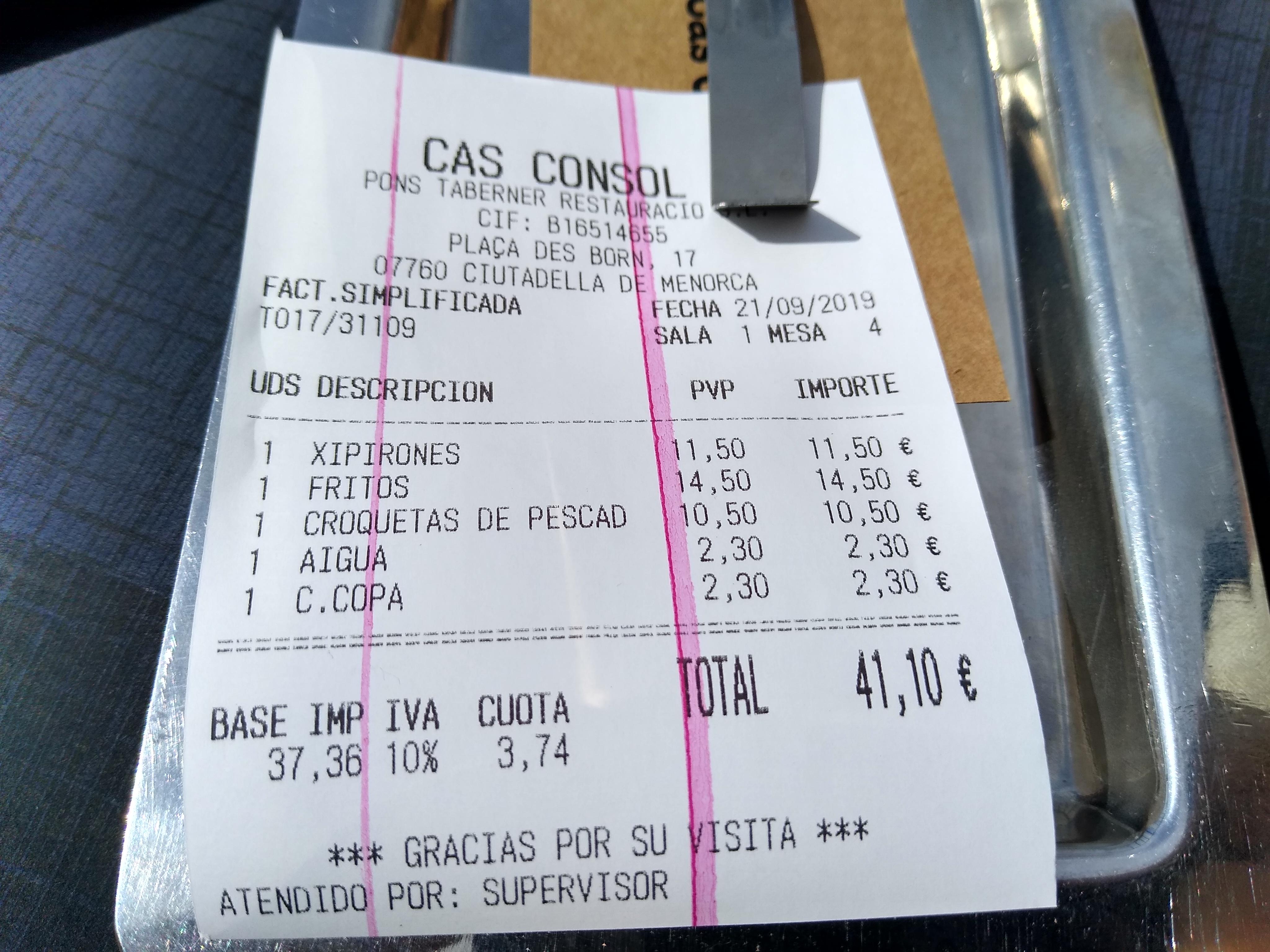 Ticket Cas Consol - 2019