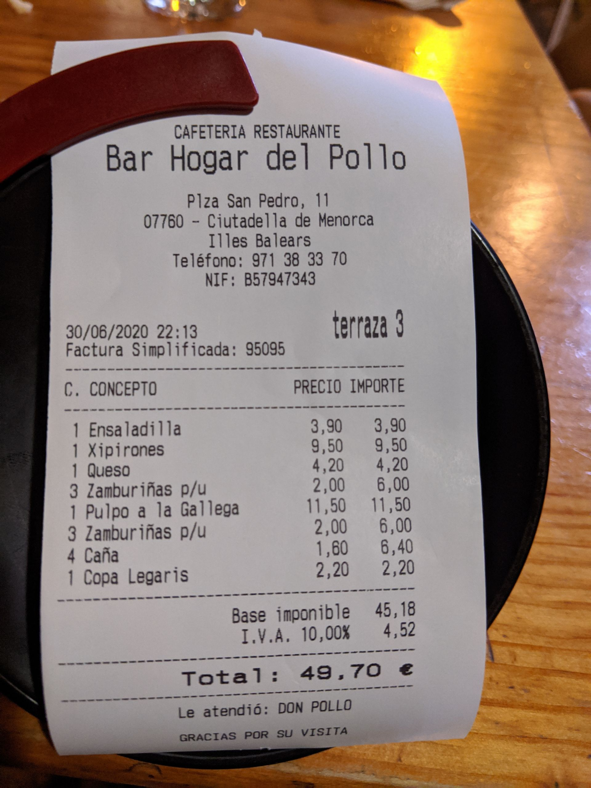 Ticket Bar Hogar del Pollo
