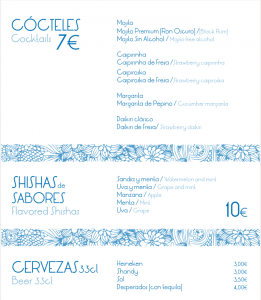 Cocteles - Shishas y Cervezas - Carta Shisha Club