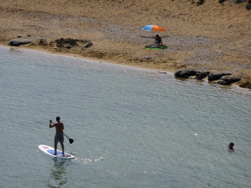 Paddle surfing in Menorca