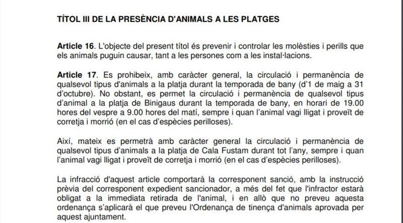 Ordenanza municipal sobre mascotas en las playas de Es Migjorn Gran