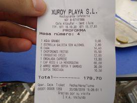 Ticket de comida en Hotel Xuroy